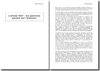 L'article 1657 - les sanctions portant sur l'acheteur