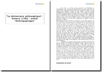 Le dictionnaire philosophique, Voltaire (1764) - article Anthropophages
