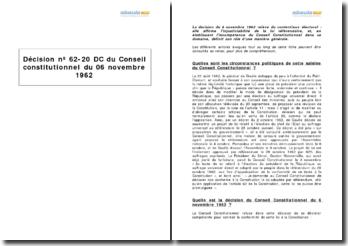 Décision nº 62-20 DC du Conseil constitutionnel du 06 novembre 1962