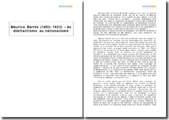 Maurice Barrès (1862-1923) - du dilettantisme au nationalisme