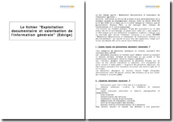 Le fichier Exploitation documentaire et valorisation de l'information générale (Edvige)