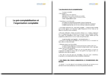 La pré-comptabilisation et l'organisation comptable