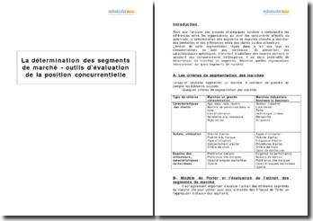 La détermination des segments de marché - outils d'évaluation de la position concurrentielle