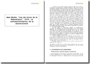 Jean Bodin, Les six livres de la République, 1576 - la conceptualisation de la souveraineté