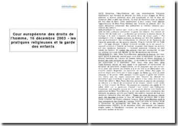 Cour européenne des droits de l'homme, 16 décembre 2003 - les pratiques religieuses et la garde des enfants