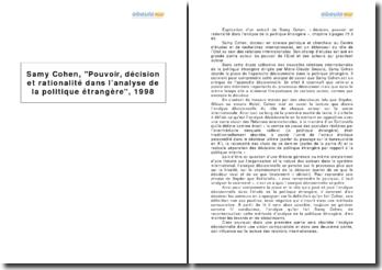 Samy Cohen, Pouvoir, décision et rationalité dans l'analyse de la politique étrangère, 1998