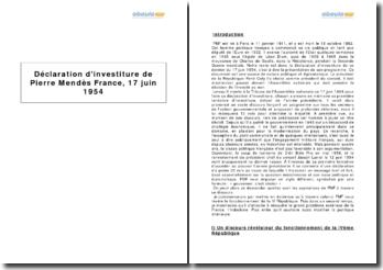 Déclaration d'investiture de Pierre Mendès France, 17 juin 1954