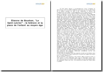 Étienne de Bourbon, Le Saint-Lévrier - le folklore et la place de l'enfant au moyen-âge