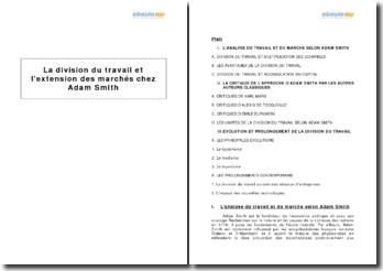 La division du travail et l'extension des marchés chez Adam Smith