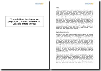 L'évolution des idées en physique, Albert Einstein et Léopold Infeld (1982)