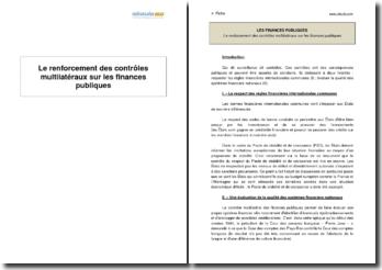 Le renforcement des contrôles multilatéraux sur les finances publiques