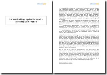Le marketing opérationnel - l'orientation-vente