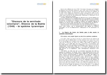 Discours de la servitude volontaire, Étienne de la Boétie (1548) - le système tyrannique
