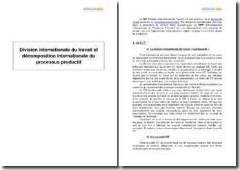 Division internationale du travail et décomposition internationale du processus productif