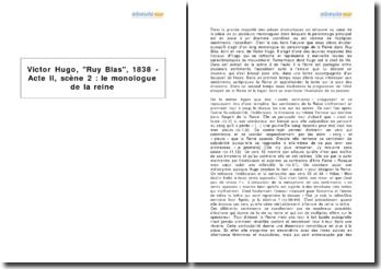 Victor Hugo, Ruy Blas, 1838 - Acte II, scène 2 : le monologue de la reine