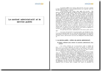 Le contrat administratif et le service public