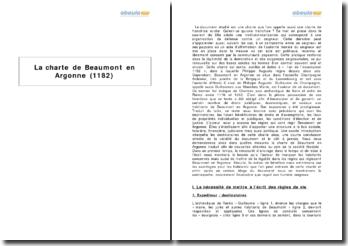 La charte de Beaumont en Argonne (1182)