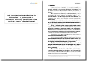 Le managérialisme et l'éthique du bien public : la question de la motivation au travail dans les services publics, Jean-François Chanlat