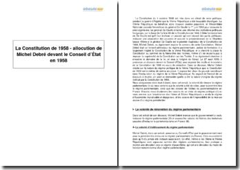 La Constitution de 1958 - allocution de Michel Debré devant le Conseil d'État en 1958
