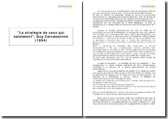 La stratégie de ceux qui saisissent, Guy Carcassonne (1994)