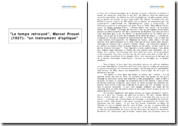 Le temps retrouvé, Marcel Proust (1927) - un instrument d'optique