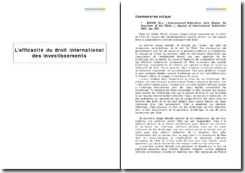 L'efficacité du droit international des investissements