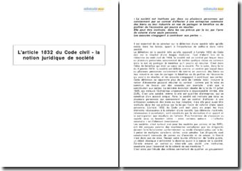 L'article 1832 du Code civil - la notion juridique de société