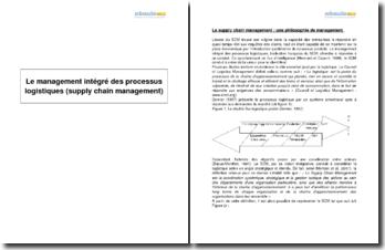 Le management intégré des processus logistiques (supply chain management)