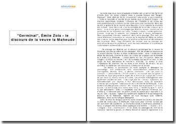 Germinal, Émile Zola - le discours de la veuve la Maheude