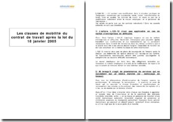 Les clauses de mobilité du contrat de travail après la loi du 18 janvier 2005