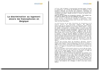 La discrimination au logement envers les francophones en Belgique