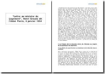 Lettre au ministre du Logement, Henri Grouès dit l'Abbé Pierre, 6 janvier 1954