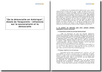 De la démocratie en Amérique, Alexis de Tocqueville - réflexions sur la souveraineté et la démocratie