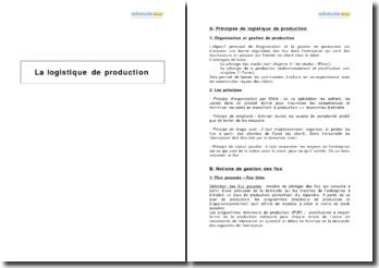 La logistique de production