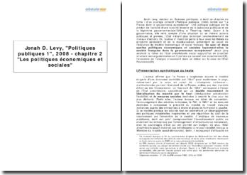 Jonah D. Levy, Politiques publiques 1, 2008 - chapitre 2 Les politiques économiques et sociales