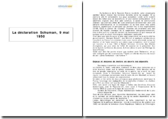 La déclaration Schuman, 9 mai 1950