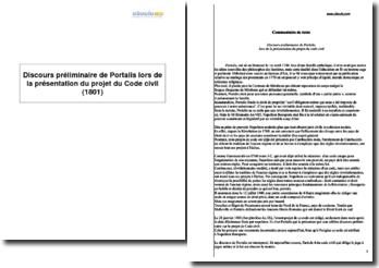 Discours préliminaire de Portalis lors de la présentation du projet du Code civil (1801)