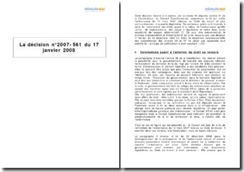 La décision n 2007-561 du 17 janvier 2008