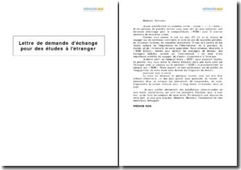 Lettre de demande d'échange pour des études à l'étranger