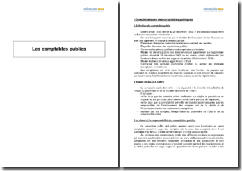 Caractéristiques des comptables publics (2010) - fonctions financières principales et non accessoires : règles et statuts