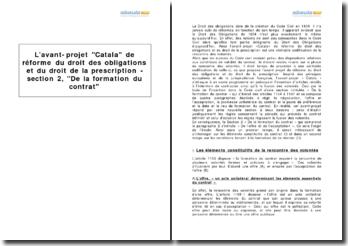 L'avant-projet Catala de réforme du droit des obligations et du droit de la prescription - section 2, De la formation du contrat