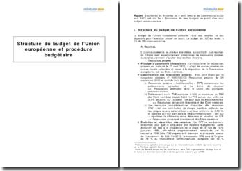 Structure du budget de l'Union européenne et procédure budgétaire