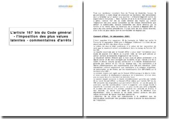 L'article 167 bis du Code général - l'imposition des plus values latentes - commentaires d'arrêts