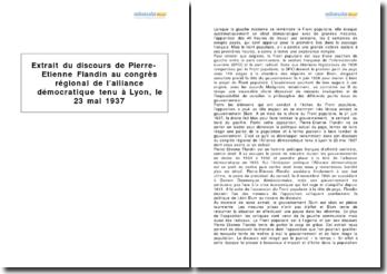 Extrait du discours de Pierre-Étienne Flandin au congrès régional de l'Alliance démocratique tenu à Lyon le 23 mai 1937