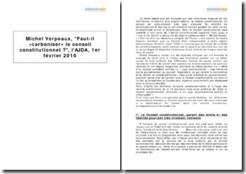 Michel Verpeaux, Faut-il « carboniser » le conseil constitutionnel ?, l'AJDA, 1er février 2010