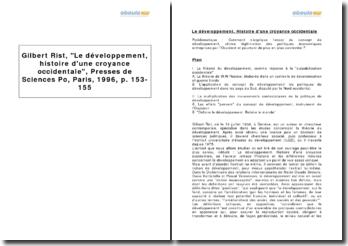 Gilbert Rist, Le développement, histoire d'une croyance occidentale, Presses de Sciences Po, Paris, 1996, p. 153-155