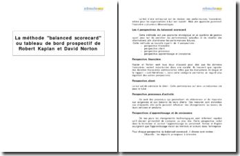 La méthode balanced scorecard ou tableau de bord prospectif de Robert Kaplan et David Norton