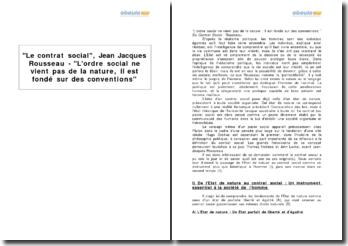 Le contrat social, Jean Jacques Rousseau - L'ordre social ne vient pas de la nature, il est fondé sur des conventions