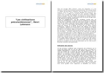 Les civilisations précolombiennes, Henri Lehmann