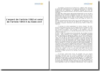L'expert de l'article 1592 et celui de l'article 1843-4 du Code civil